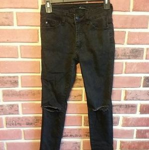 Denim - Distressed Black Skinny Jeans